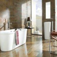 Ванная комната с терракотовыми полами с деревянными потолками